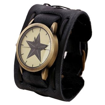 New Style Retro Punk Rock Brown Big Wide Leather Bracelet Cuff MenWatch Cool black intl