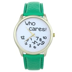 New Style Who Cares Irregular Figure High Quality Women Wristwatch Fashion Watches (Green) - Intl