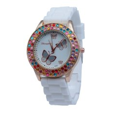 New Watch Fashion Rose Gold Diamond Female Form Butterfly Diamond Dial Silicone Watch - Intl