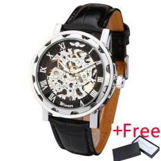 New Winner Hot mechanical Brand men hand wind Skeleton watches male Dress fashion clock style black