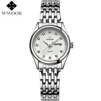 New Women Watches Brand Luxury 50m Waterproof Date Clock Ladies Quartz Sports Wrist Watch Women Silver Bracelet relogio (White) - intl