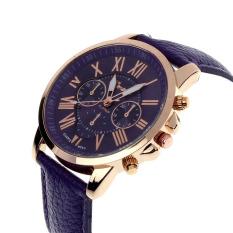 New Women's Fashion Geneva Roman Numerals Faux Leather Analog Quartz Wrist Watch Purple