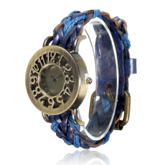 New Women's Vintage Wrap Braided Faux Leather Analog Quartz Bracelet Wrist Watch Blue - Intl