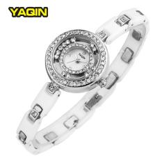 Newest Women Brand YaQin Fashion Cz Crystal Rhinestone Watch Ceramics Band Imported Japan Quazn Movement (Silver) - Intl