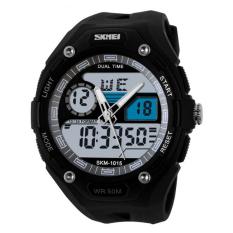 Newest Wristwatch Big Dial SKMEI Electronic Multi-function Fashion MEN'S Watch Sports Waterproof Students (White) - Intl