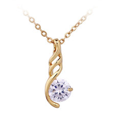 NiceEshop 18K Gold Plated White Rhinestone Sparkle Crystal Women Long Pendant Necklace