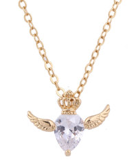 NiceEshop 18K Yellow Gold Plated White Rhinestone Flying Crown Pendant Necklace For Women