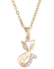 NiceEshop 18K Yellow Gold Plated White Rhinestone Pretty Fox Pendant Necklace For Women