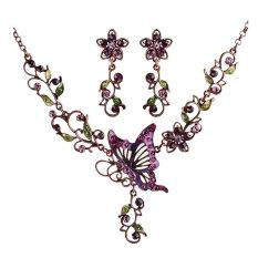 NiceEshop Women Retro Butterfly Pierced Collar Necklace Earrings Sets