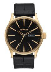 NIXON Sentry Leather Gold / Black Gator Jam Tangan Unisex A1052022 - Leather - Black