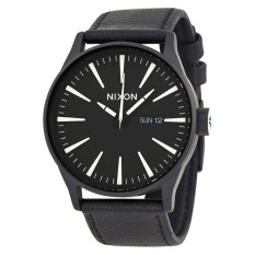 Nixon Watch Black Stainless-Steel Case Leather Strap Mens NWT + Warranty A105005