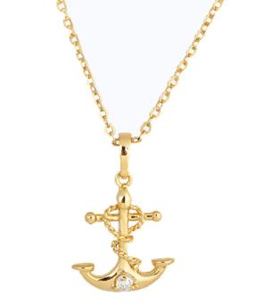 Oanda 18K Yellow Gold Plated White Rhinestone Boat Pendant Necklace For Women