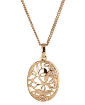 Oanda 18K Yellow Gold Plated White Rhinestone Lovely Shell Pendant Necklace For Women