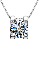 OEM 925 Sterling Silver Chic Squre Crystal Necklace Pendant Women Girl Jewelry Gift