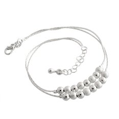 OEM New Fashion Simple Lucky Women 925 Silver Frosted Beads Ball Bracelet Gift (Intl)