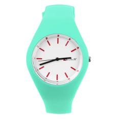 OH Fashion Men Women Silicon Strap Round Dial Sport Leisure Wrist Watch Jewelry Green
