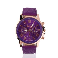 OH Fashion Unisex Color Original Women Men New PU Genuine Leather Watches Purple - Intl