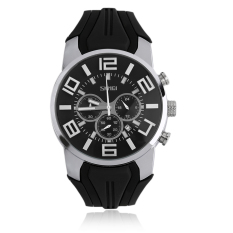 OH SKMEI 9128 Men Quartz Waterproof Sport Auto Date Silicone Band Wristwatch Black 9128