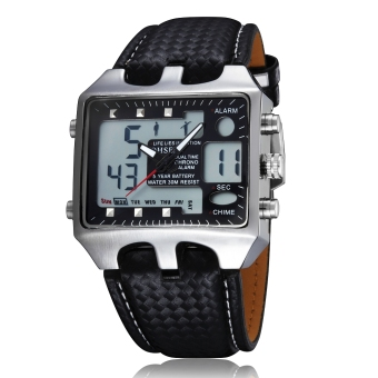 OHSEN AD0930 Fashion digital quartz Leather band men wristwatches(Black)