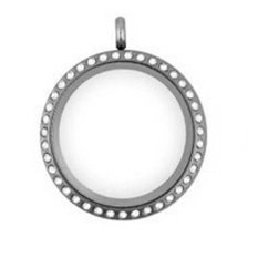 Okdeals Living Memory Glass Round Locket Charms Pendant Necklace Silver