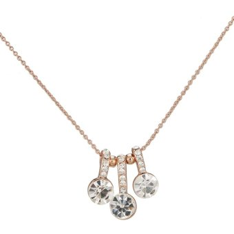 One Zero One 2015 Unique Fashion Beautiful Gold Plated Mini Round Setting Three Diamond Pendant Necklace For Women Lady Girl