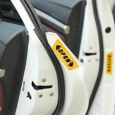 Onever 4pcs/set Reflective Car Sticker Yellow Door Open Nighttime Warning Sign Waterproof Decal Car Styling (Yellow ) - intl