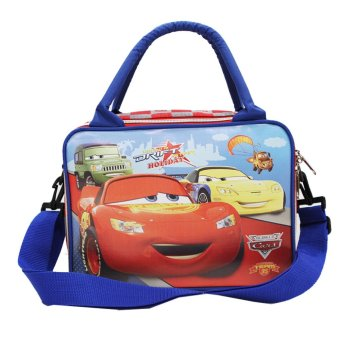 Onlan Cars Tas Travel & Lunch Bag Anak Tali Selempang Bahan Kanvas - Biru