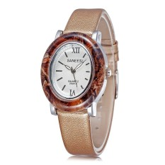 JIANGYUYAN Brand New Quartz Watch Ladies Fashion Leather Straps Watches Women Dress Watch 2015 New (Light Coffee White) (Intl)
