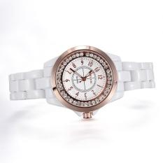 ooplm Brand Skone white Imitation ceramic women watches luminous rhinestones quartz mesh watches (Rose Gold)