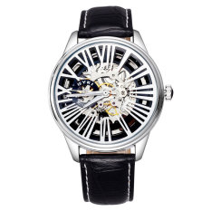 Fashion Roman Number Automatic Self-Wind Watch Skeleton Dial EYKI Brand Watches Men Luxury Brand Genuine Leather Wristwatches (Black White) (Intl)