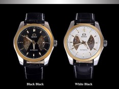 JIANGYUYAN Gucamel Business Skeleton Dial Balck and White Colors Genuine Leather Watches Men Luxury Brand Automatic Top Quality Dropship (White Black) (Intl)