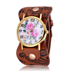 JIANGYUYAN New Fashion 2015 Women Watches Brand Flower Design Watch High Quality Quartz Watches Leather Straps Wristwatch (Coffee) (Intl)