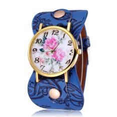 JIANGYUYAN New Fashion 2015 Women Watches Brand Flower Design Watch High Quality Quartz Watches Leather Straps Wristwatch (Drak Blue) (Intl)