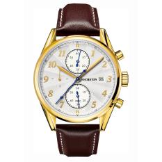 Ooplm OCHSTIN High-grade Leather Strap Quartz Men's Watch Student Waterproof Sports Chronograph Watch (Gold)