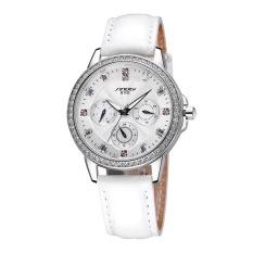 JIANGYUYAN SINOBI Fashion Luxury Brand Genuine Leather Strap Women Dress Watches Steel Waterproof Quartz Watch 3 Dial Rhinestone Wristwatch (White Leather Band) (Intl)