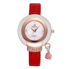 Louiwill SKONE New Design Ladies' Dress Wrist Watch Women Luxury Brand Leather Wristwatch Shell Quartz Rhinestone Gold Watches Reloj Saat (Black) - Intl