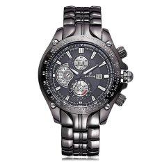 JIANGYUYAN SKONE Relogios Masculinos 2015 Luxury Brand Date Watch Men Luminous Fashion Watch Quartz Business Casual Full Steel Wristwatch (Black Black) (Intl)