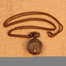 Small Peacock Pattern Retro Vintage Pocket Watch Women Necklace Quartz Alloy Pendant with Long Chain Wholesale (Bronze) (Intl)