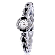 JIANGYUYAN Watches Ladies Fashion Quartz Watch Dress Wristwatches Fashion Alloy Strap Round Dial Shiny Crystal Watches Big Numbers Clock (Black) (Intl)