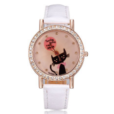 JIANGYUYAN Watches Women Luxury Brand Rose Gold Pu Leather Strap Watches Crystal Rhinestones Cute Cat Fashion Casual Designer Dropship (White) (Intl)