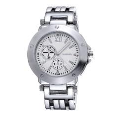 Louiwill WEIQIN Top Brand Men's Gold Watches Stainless Steel Band Analog Display Quartz Men Wristwatch Luminous Hands Luxury Watch (Black) - Intl
