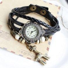 JIANGYUYAN Free Shipping Wholesale Dropship 2015 Hot Sale Fashion Braided Handmade Beads Giraffe Sunflower Quartz Watch Ladies Leather (Black) (Intl)