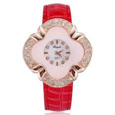 JIANGYUYAN Women Watch Diamond Luxury Rose Gold Plated Pu Leather Lady Dress Clock (Red) (Intl)