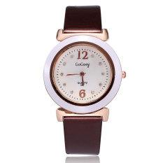 Women Watches Brand 2015 Fashion Casual Pu Leather Strap Watches Quartz Analog Crystal Diamonds Ladies Dress Ladies Wristwatch (Coffee) (Intl)