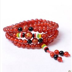 Opening Of Natural Red Agate Black Agate Beads Bracelet Five Co-op Zodiac Lucky Mascot Men And Women - Zodiac Dragon (Red Agate) (Intl)