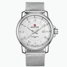 Original NAVIFORCE Men Watch Luxury Brand Analog Date Stainless Steel Strap Quartz Watch Men Waterproof Military Men's Casual Watches (White)