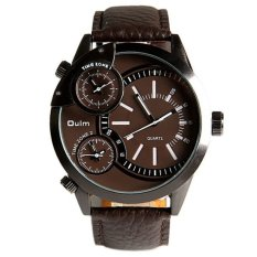 Oulm 3136 Men's Boys Big Round Dial Three Time Display Quartz Wrist Watch with PU Band (Brown)