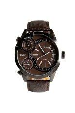 Oulm 3136 Men's Boys Big Round Dial Three Time Display Quartz Wrist Watch With PU Band Brown