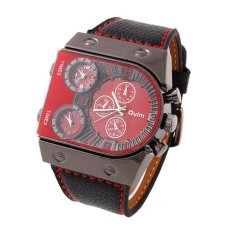 OULM Brand Men Sport Watches Quartz Leather Military Watch Brand Men Watches (Red)