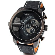 Oulm Chronograph Function Men Genuine Leather Quartz Wristwatch (Black)